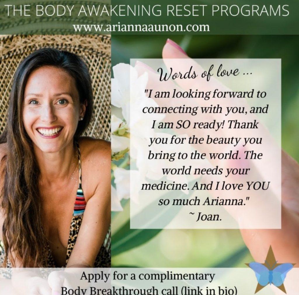 Apply for a Complimentary Body Breakthrough Call By Arianna Aunon